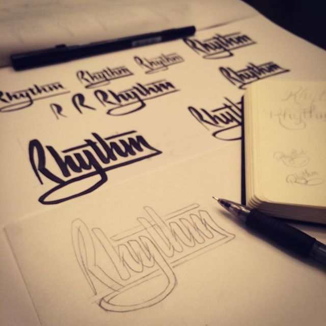 Finding my #rhythm with some late night #lettering and #design #practice. #handlettering #brushpen #brushscript #process #doodling #handlettered
