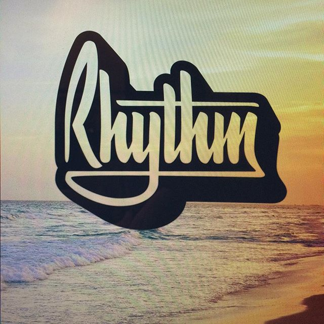 I #vectorized this evening's #rhythm and then placed it over some #cheesy #stockimage and took a pic of my screen with my phone. #cliche #design #graphicdesign #lettering #handlettering #brushscript #brushpen #waves #beach #ocean