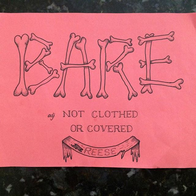 "#sharpie on construction paper I did a couple weeks ago for my daughter's ""vocabulary parade"" at her school. Just a fun #doodle but she likes it. #illustration #bones #handlettering"
