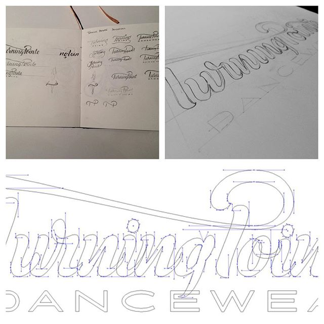 Some of the #process behind the TurningPointe #lettering #sketch #thumbnail #pencil #vector #illustrator #beziers #handles #pentool