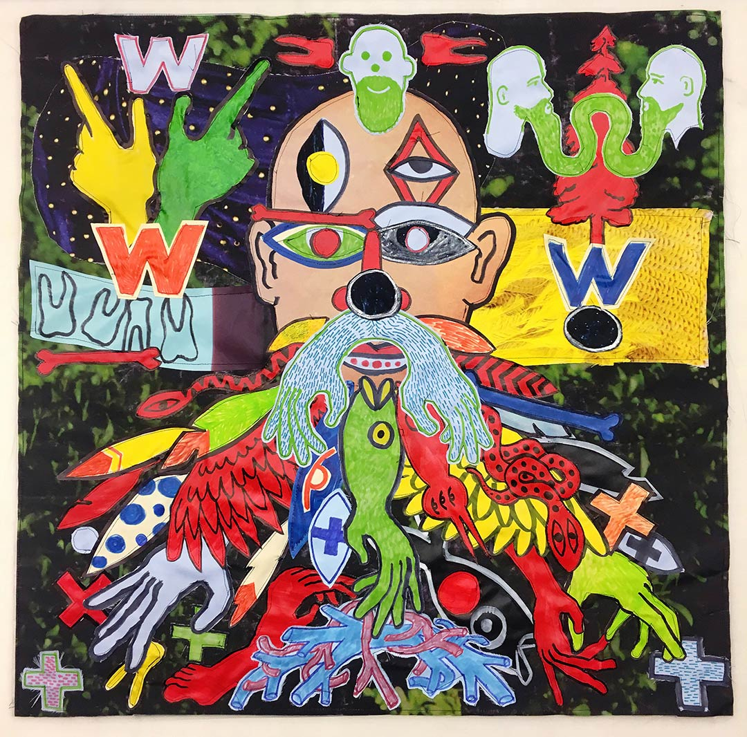 Walter (2017) Ink & Acrylic on Vinyl &Polyester, 50 x 50 cm