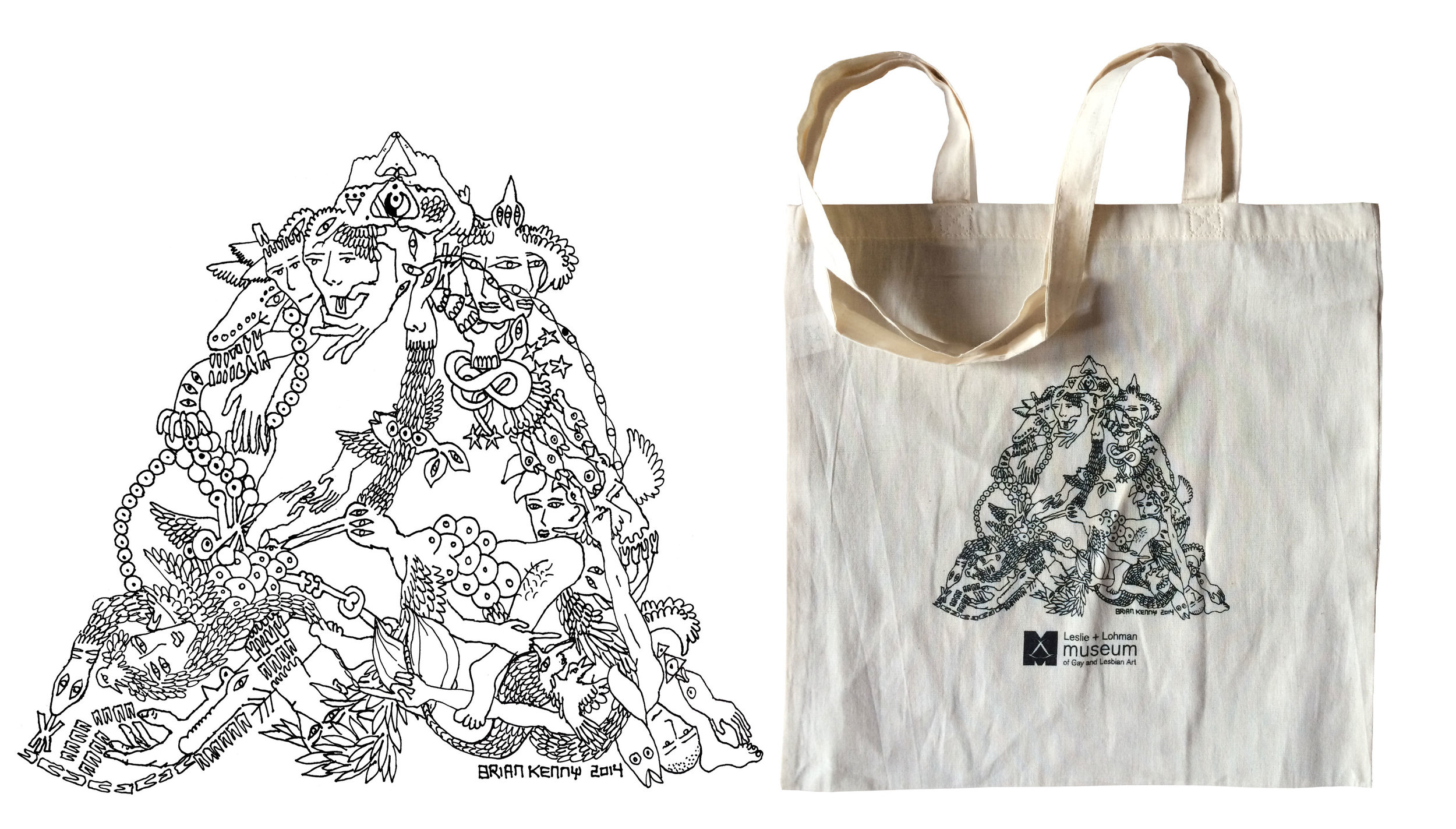 Design for annual tote bag for the Leslie Lohman Museum. of Gay and Lesbian Art. (NYC)