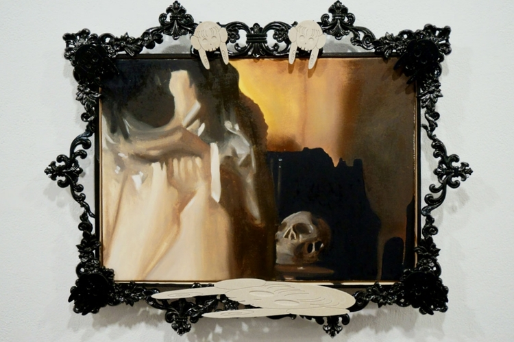 """Study for Minori Aoi in """"Fetish Virgin IV"""" (Memento Minori) , 2014, oil on canvas in artist's frame (wood, plastic, sumi ink, cultured bone), 23 x 18 inches overall. Lost 2015, presumed destroyed."""