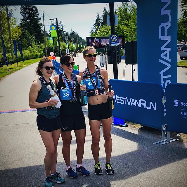3rd Place Female at the @westvanrun Summer 5k! 🎉 🏃♀️ 🍾 I ended up way off the mark on my time goal, due to some bad stomach cramping, but you work with what you've got on the day, and I was happy to hang on for 3rd! Such a great event, I'll be there on the startline for their next race in September.  #westvanrun #5k #runyvr #racelocal #bubbles