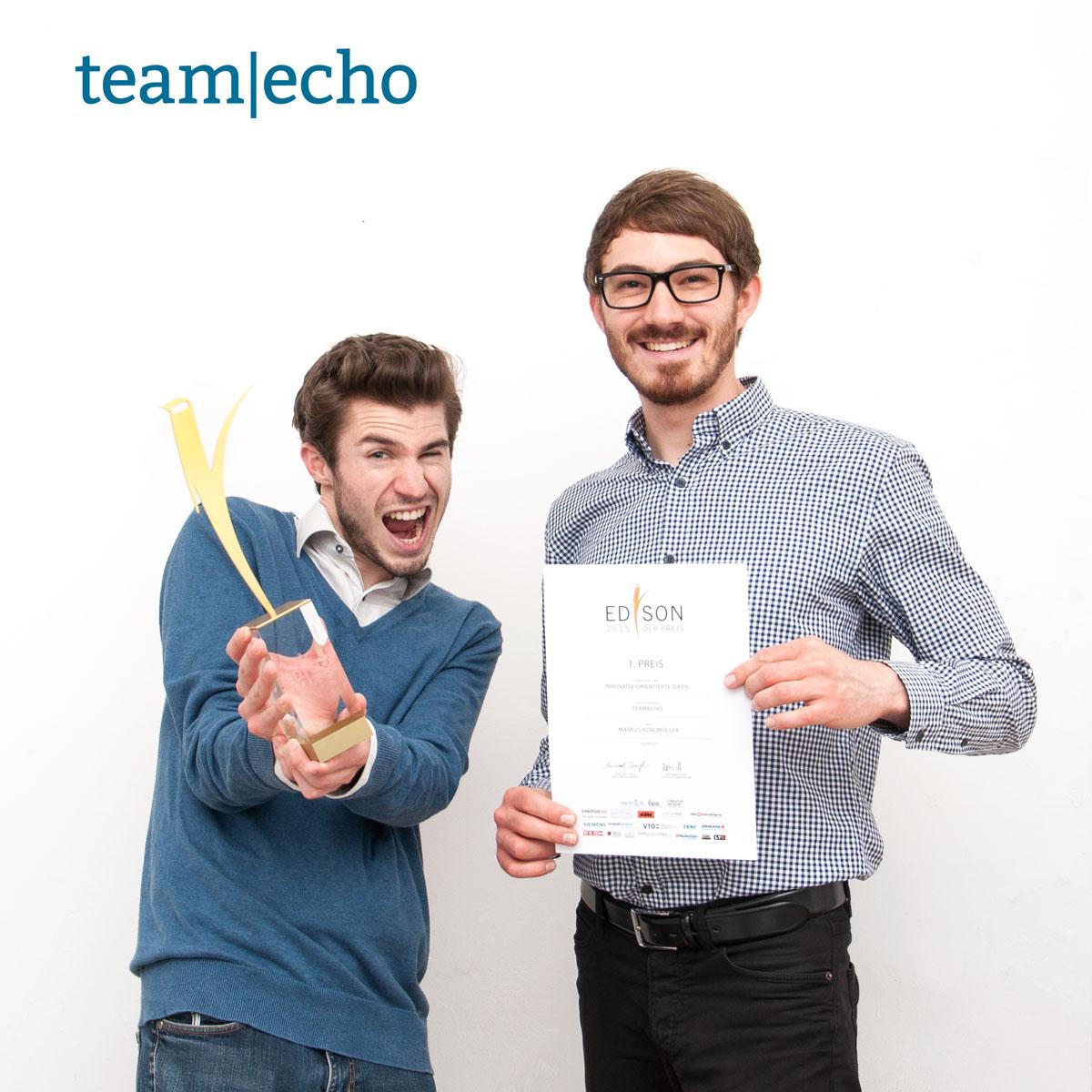 copyright TeamEcho GmbH  l.: TeamEcho-Mitgründer David Schellander, r.: TeamEcho-Mitgründer Markus Koblmüller