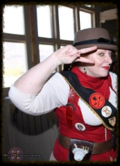 Madame Askew explains the perils of tea duelling at Wild Wild West Steampunk Convention 3 Photo by Hyn May photography