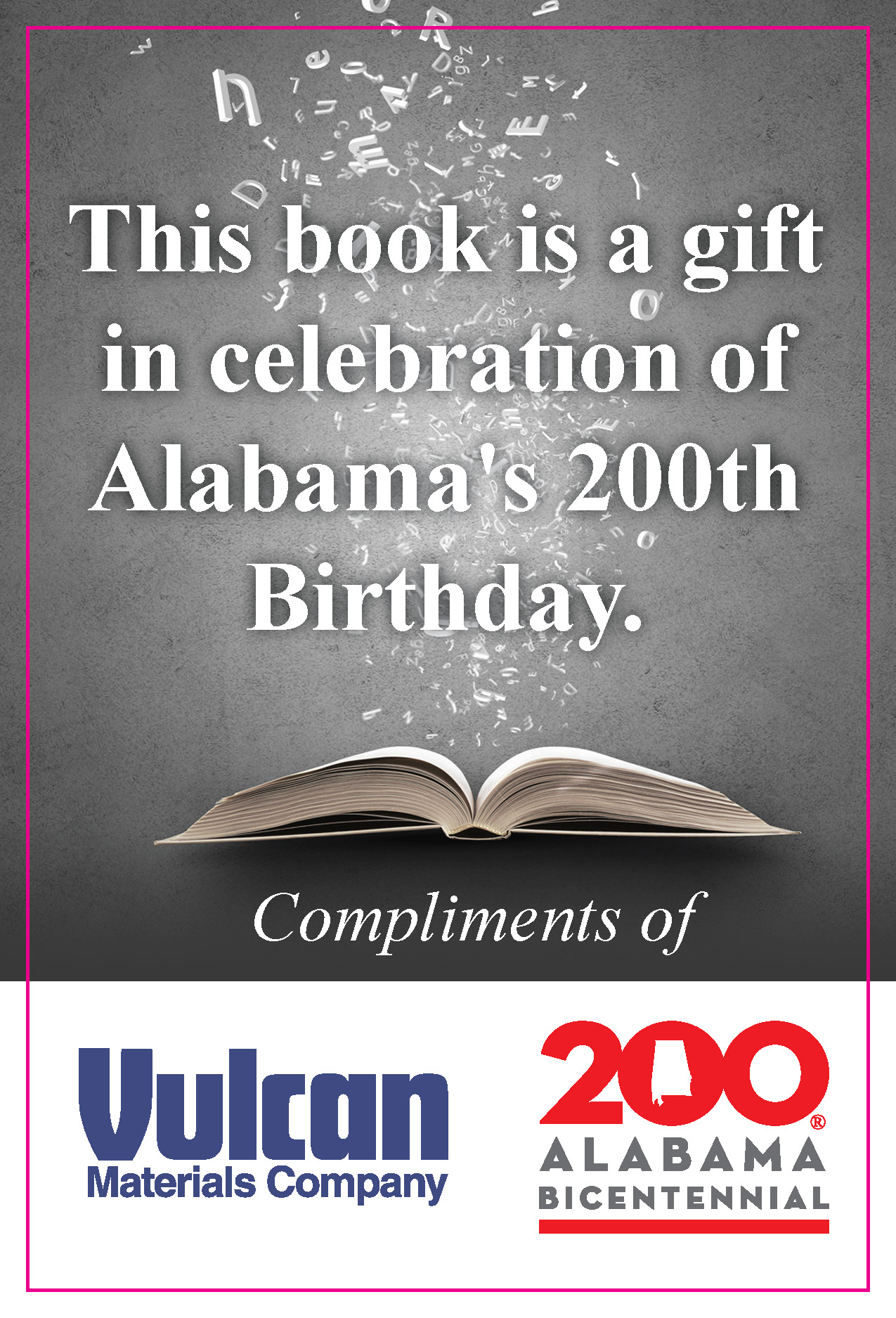 Thank you to Vulcan Materials Company - Vulcan Materials Company is sponsoring the books for each Rx for Summer Reading event throughout the summer.