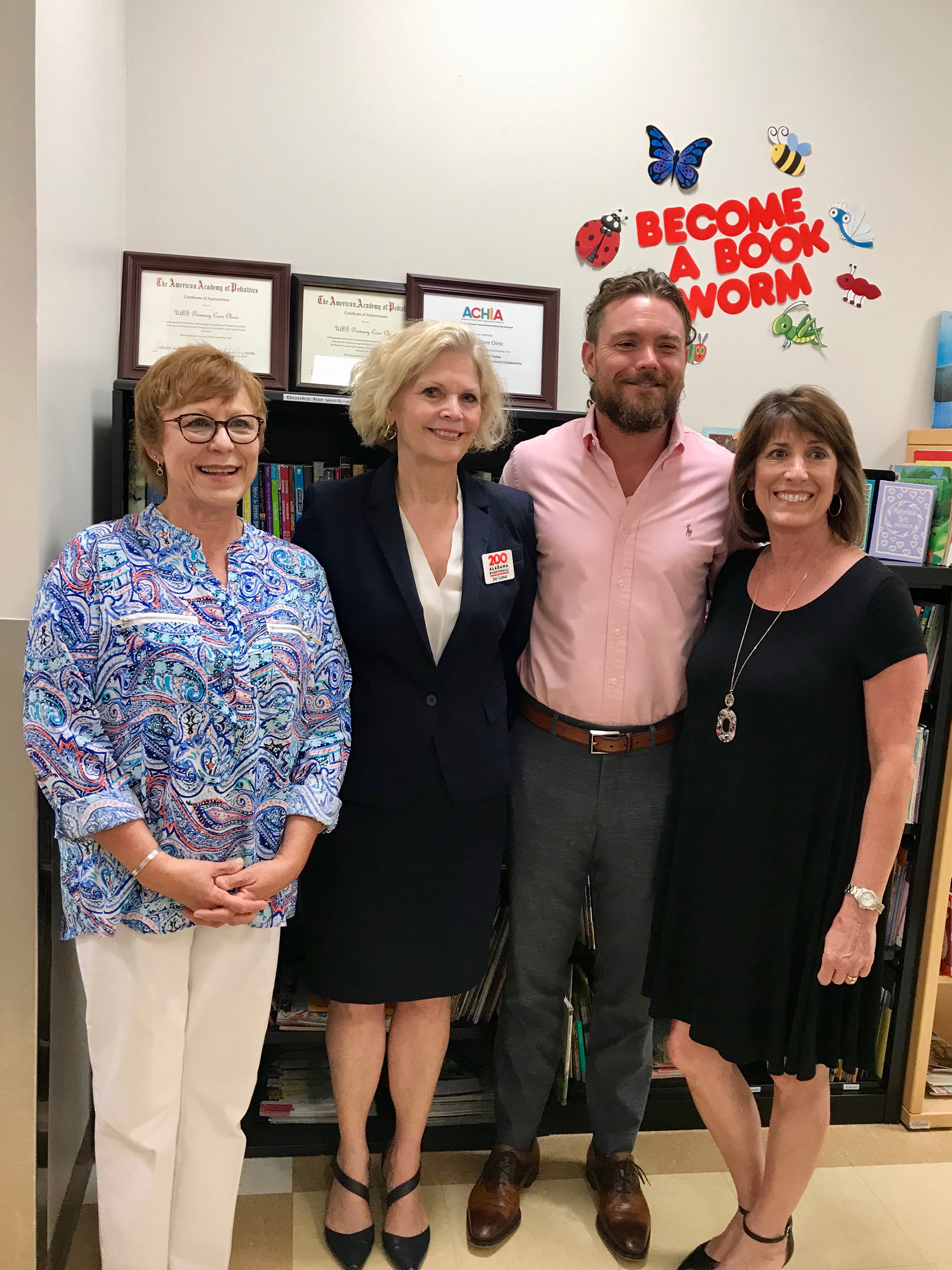 Pictured - Polly mclure, reach out and read-alabama; jay lamar, alabama bicentennial commission; clayne crawford, clayne crawford foundation; Carol maxwell, vulcan materials company