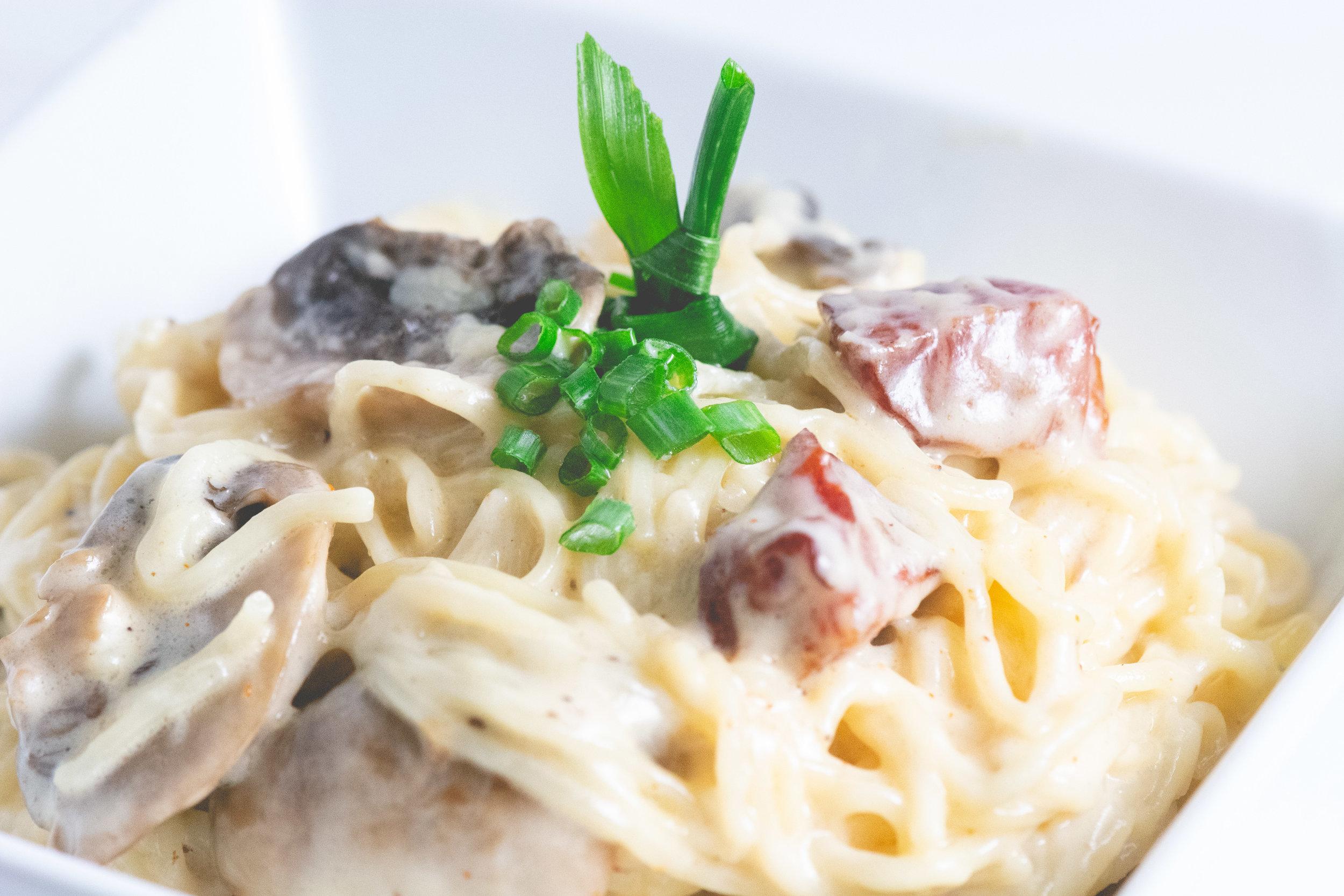 Tasso and Mushroom pasta -