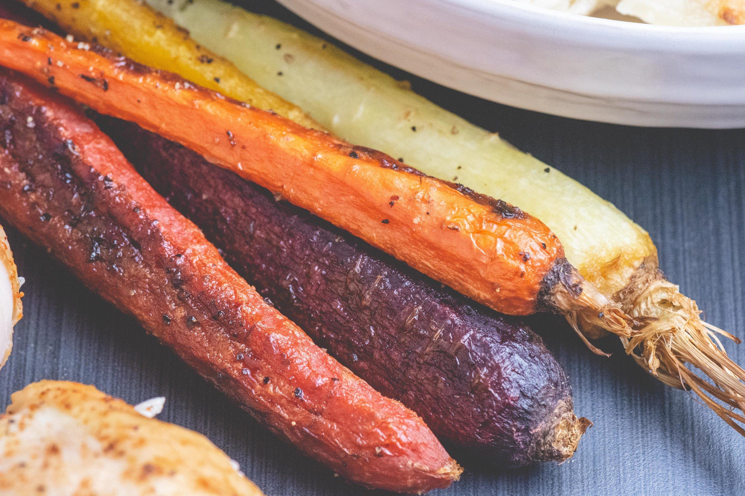 roasted rainbow carrots -