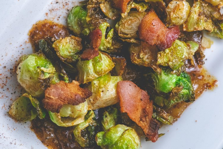 fried brussels with dijon sauce -