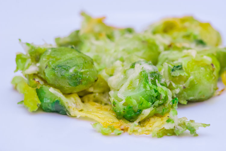 mashed up brussels sprouts -