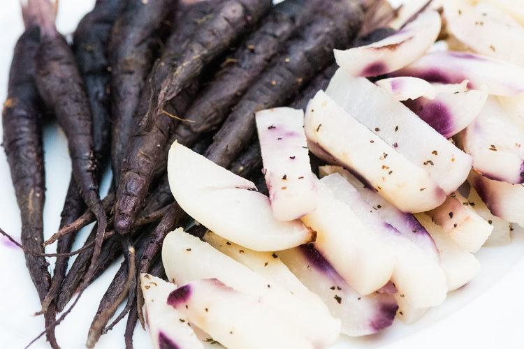 roasted purple carrots and turnips -