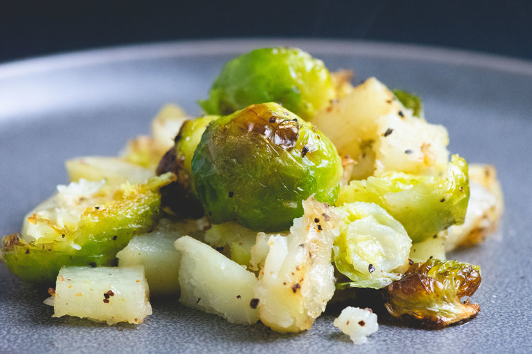 roasted brussels and potatoes -