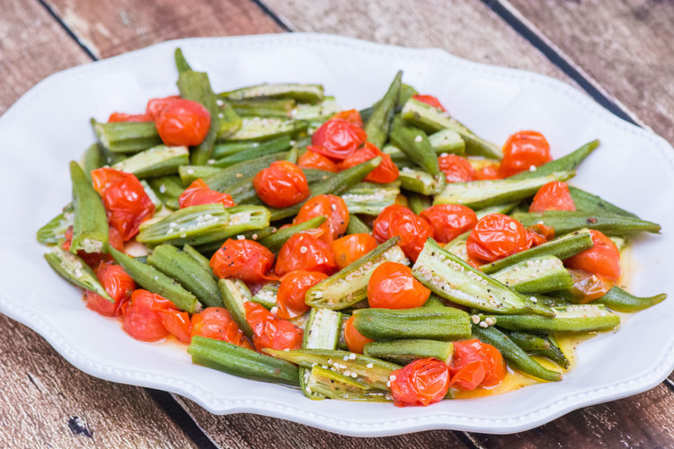 roasted okra with tomatoes -