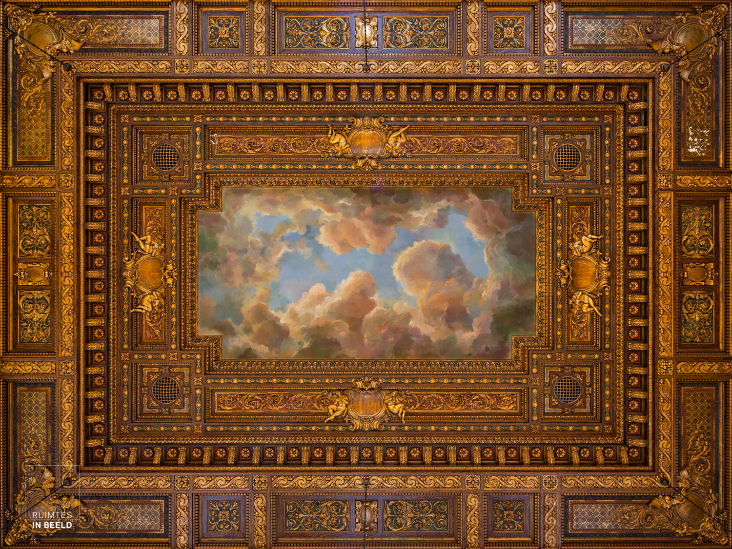 Plafond in de leeszaal in de New York Public Library USA | Ceiling in Rose reading room in the NYPL, USA