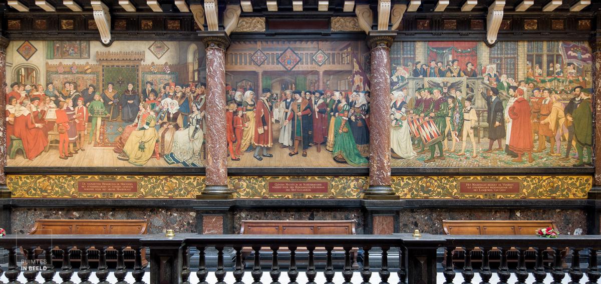 Wandschildering in stadhuis Antwerpen | Wall painting in Antwerp city hall