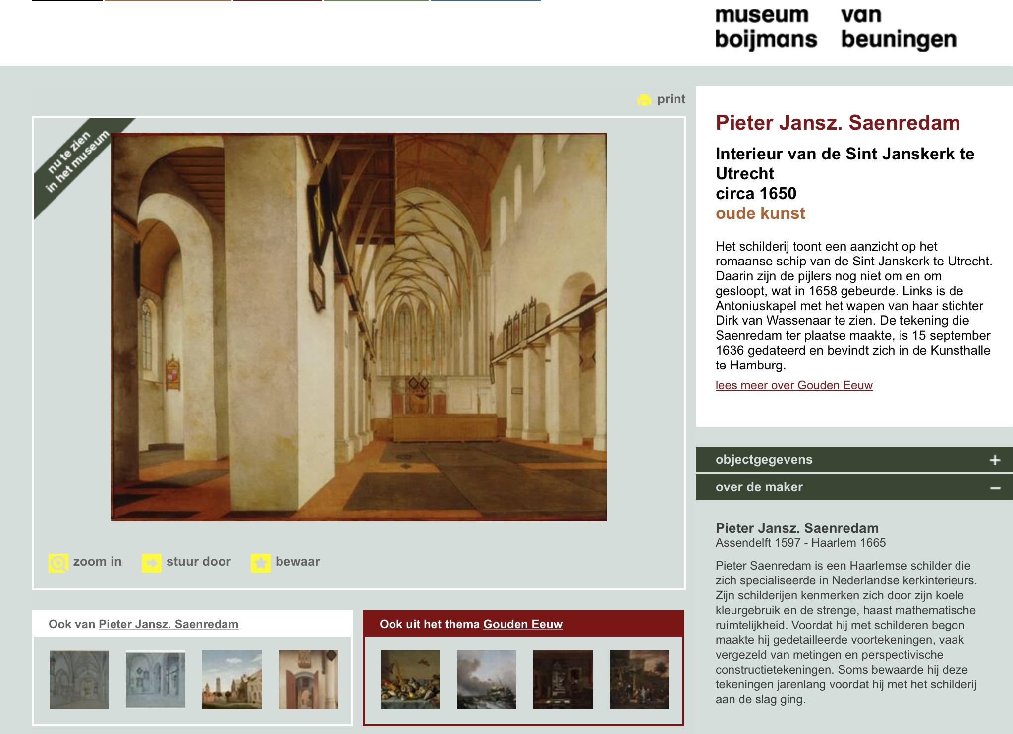 Screenshot van de website van museum Bojmans van Beuningen waarop een schilderij van de Janskerk in Utrecht te zien is van Pieter Jansz. Saenredam uit ca 1650