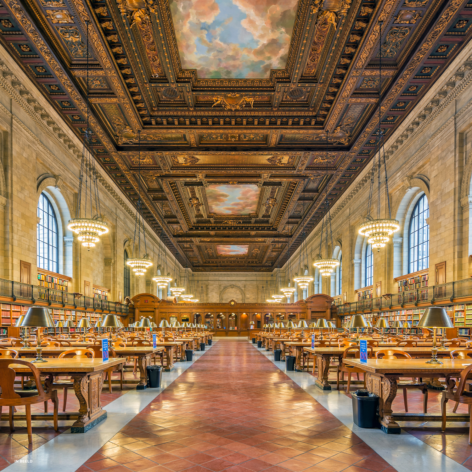 De Rose Reading Room in de New York Public Library | Rose Reading Room in the New York Public Library