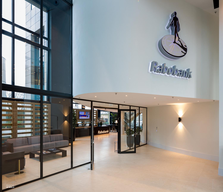 Ingang van de Rabobank in de Mondriaantoren in Amsterdam