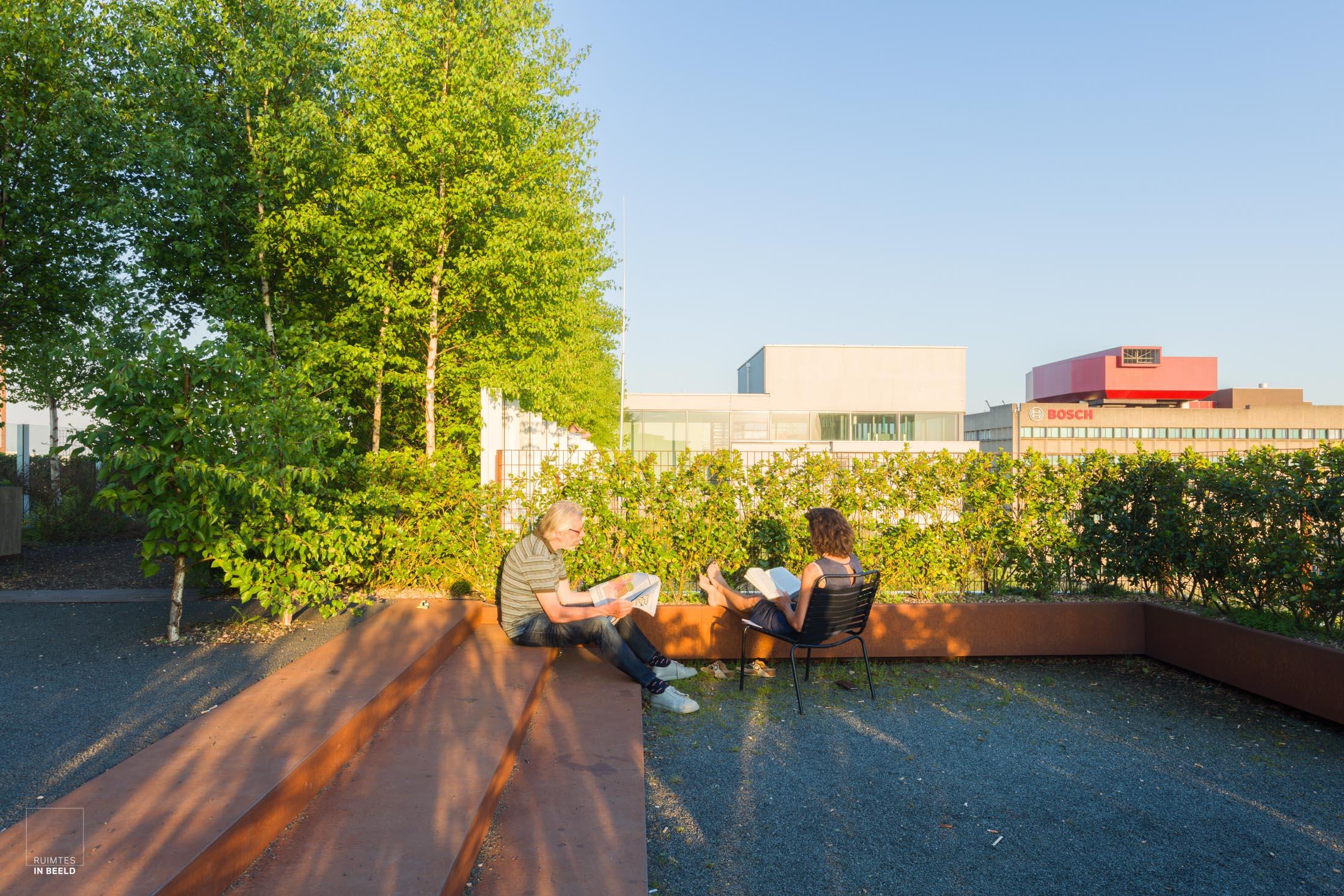Daktuinen op Gebouw Gerard in Strijp S, Eindhoven, ontworpen door  CoenenSättele architecten