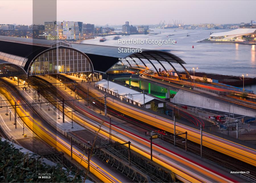 Architectuurfotograaf Rob van Esch heeft een groot aantal stations vastgelegd, waarbij hij focust op de dynamiek in combinatie met het strakke lijnenspel. In dit document voorbeelden van zijn architectuurfoto's van stations.