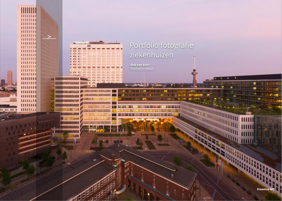 Architectuurfotograaf Rob van Esch komt vaak in ziekenhuizen om foto's te maken. In dit document een aantal voorbeelden van architectuurfoto's die hij maakte.