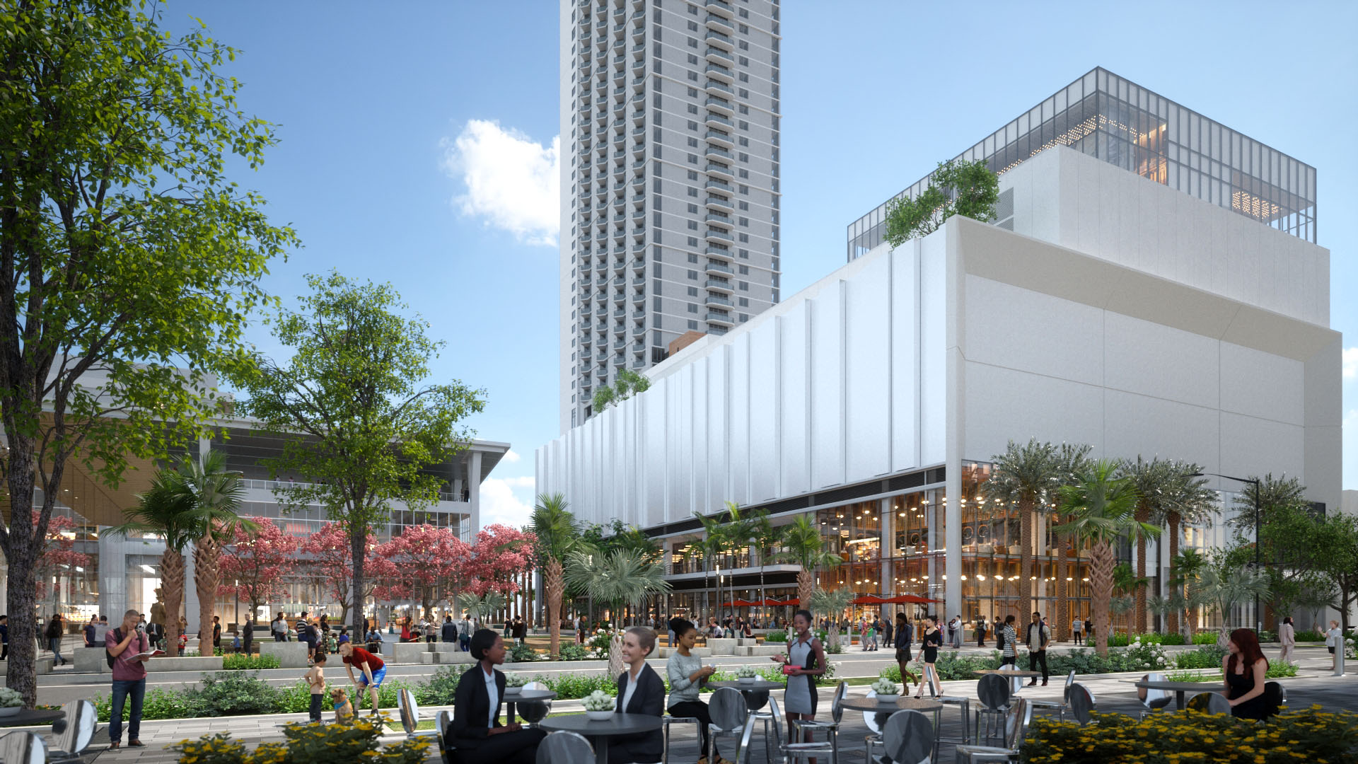 MIAMI WORLDCENTER City Block H Miami, Florida - Sector: Mixed use facility to include Food & Beverage, Retail, Public Parking Garage and ResidentialService Provided: Real Estate Development Management and Advisory, Development Design & Construction ManagementClient: Miami Worldcenter AssociatesDesign: Elkus Manfredi ArchitectsArchitect/Engineer: Stantec ArchitectsLocation: Miami, FloridaProject Description: 545,00 GSF Residential, 461,150 GSF for PodiumRetail: 48,000 NSF of Retail, F&B space at level 1, 2, and 12Parking Garage: 922 parking spacesResidential units: 434 for Luma TowerDevelopment Value: $92,000,000Completion Date: Q1 2022The Block H is part of a larger residential development spanning an entire city block from NE 2nd Avenue to NE 1st Avenue. Once completed, it will serve three major urban components. To the east it will frame Miami Worldcenter's main vehicular point of arrival while being visible from Biscayne Boulevard and beyond. To the north, the architectural fabric engages with and responds to the flexible function of MWC's main civic plaza. Lastly, the southern expression along the Florida East Coast Rail responds to the urban context as a major portal into the MWC project.Block H is one of two main public garages.