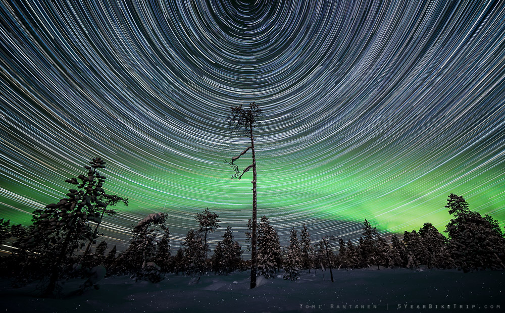 Composite of 260 photos shot at 30sec, f/2.8, ISO 1600. End result created with StarStaX software.