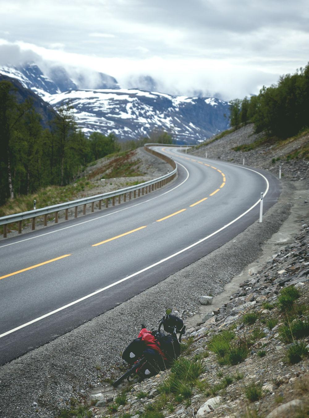 Winding mountain road in Skibotn,Norway.
