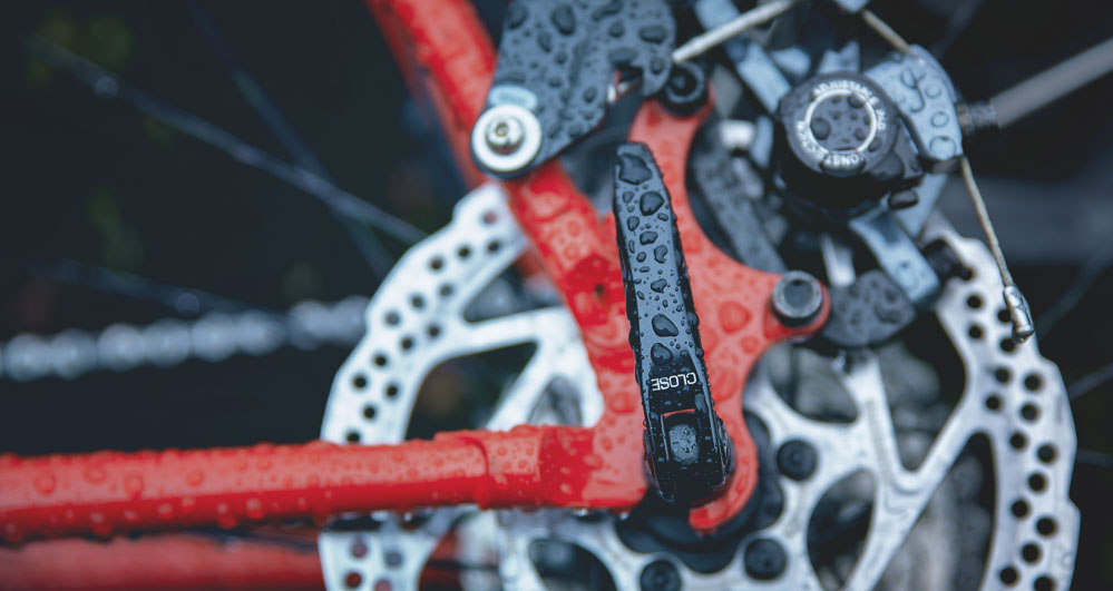 Wet bicycle parts.
