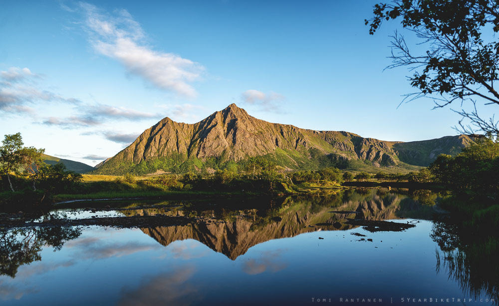 Andøya mountain reflected off still water.