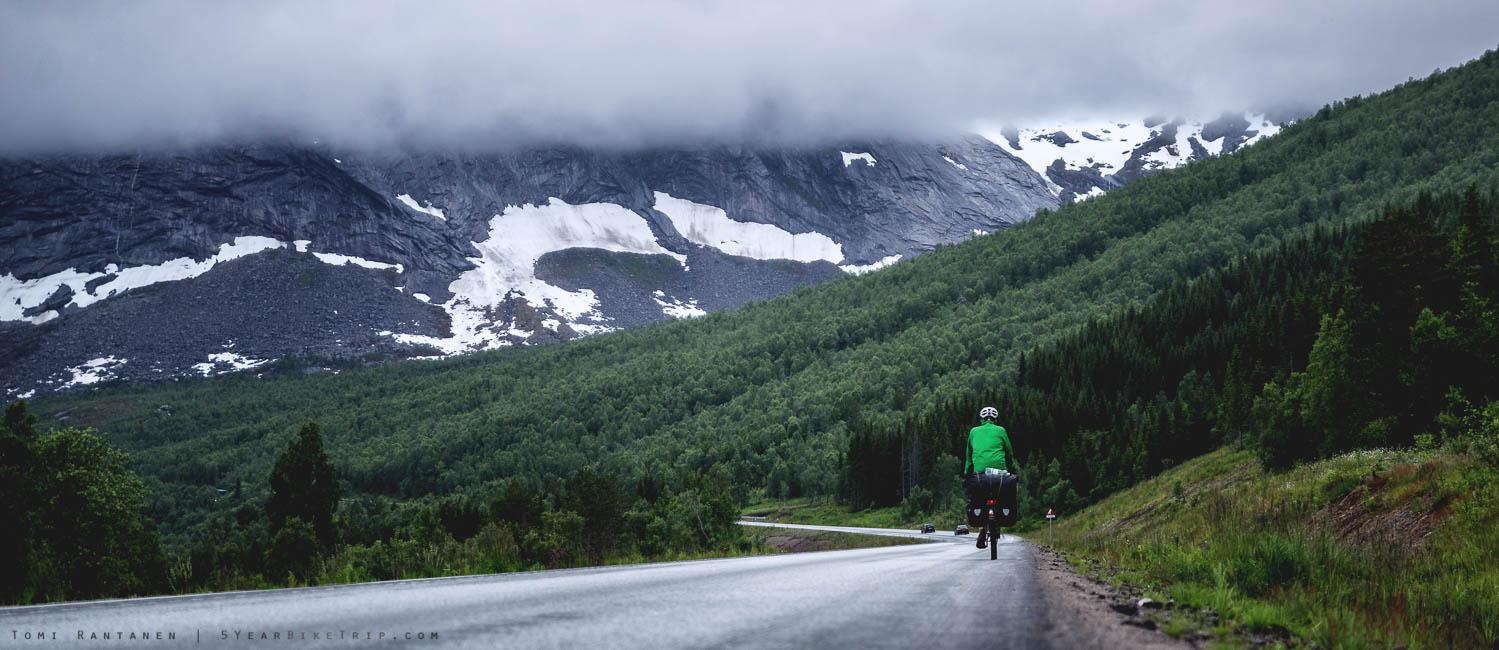 Sven climbing up the mountain pass.