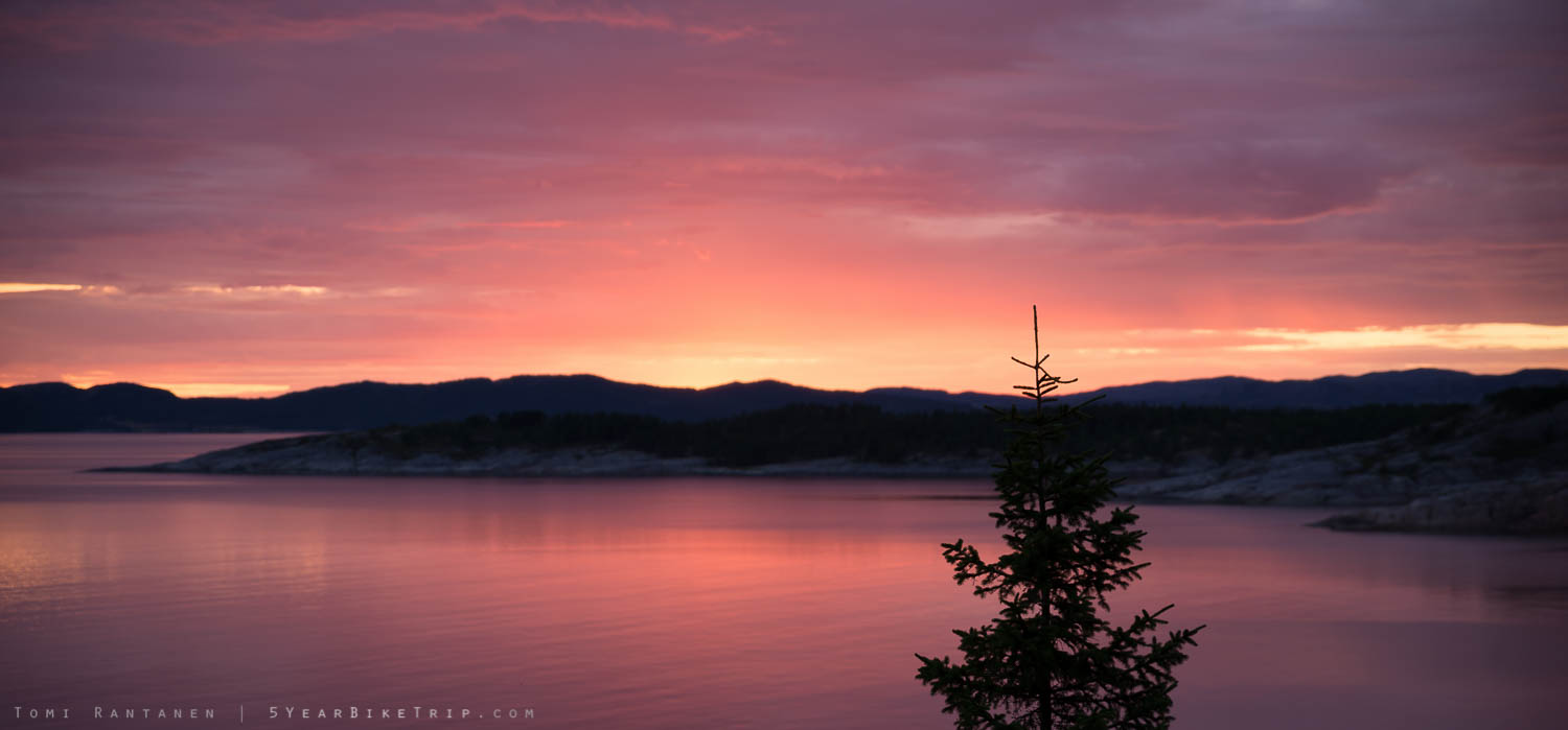 Incredibly colourful sunset in Salsnes, Norway.