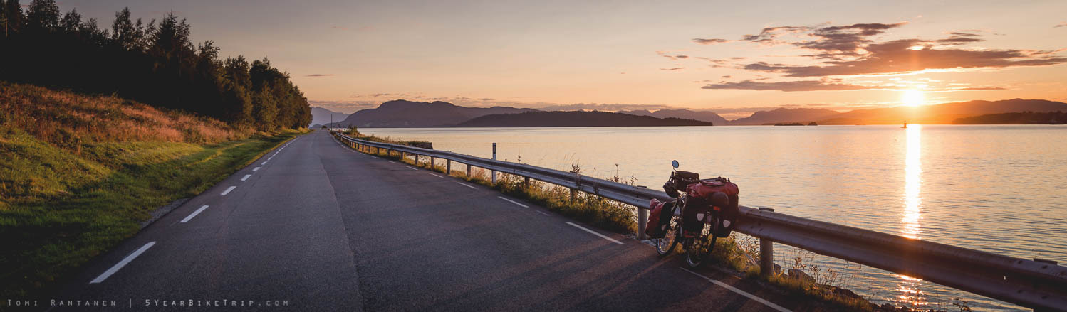 Cycling into the sunset.
