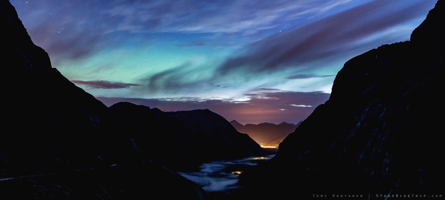 Northern lights over Trollstigen.