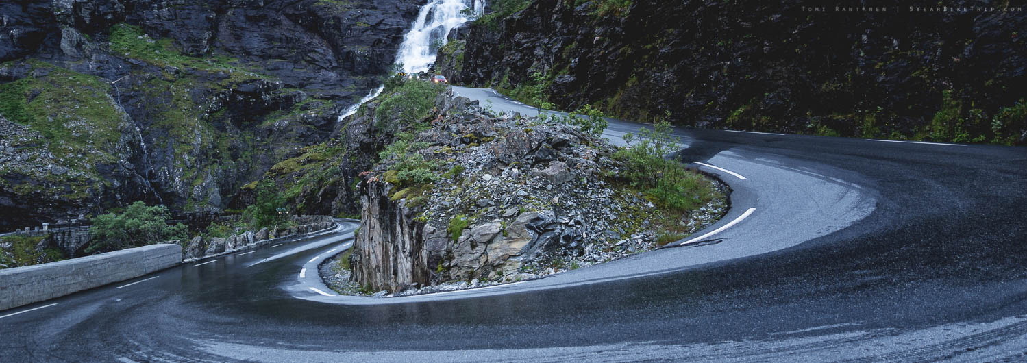 Wet and slippery hairpin curve.