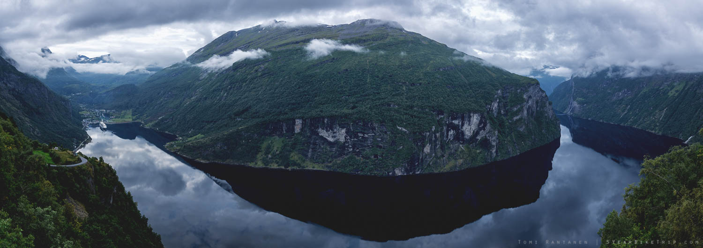 Panorama of Geirangerfjord in Norway.