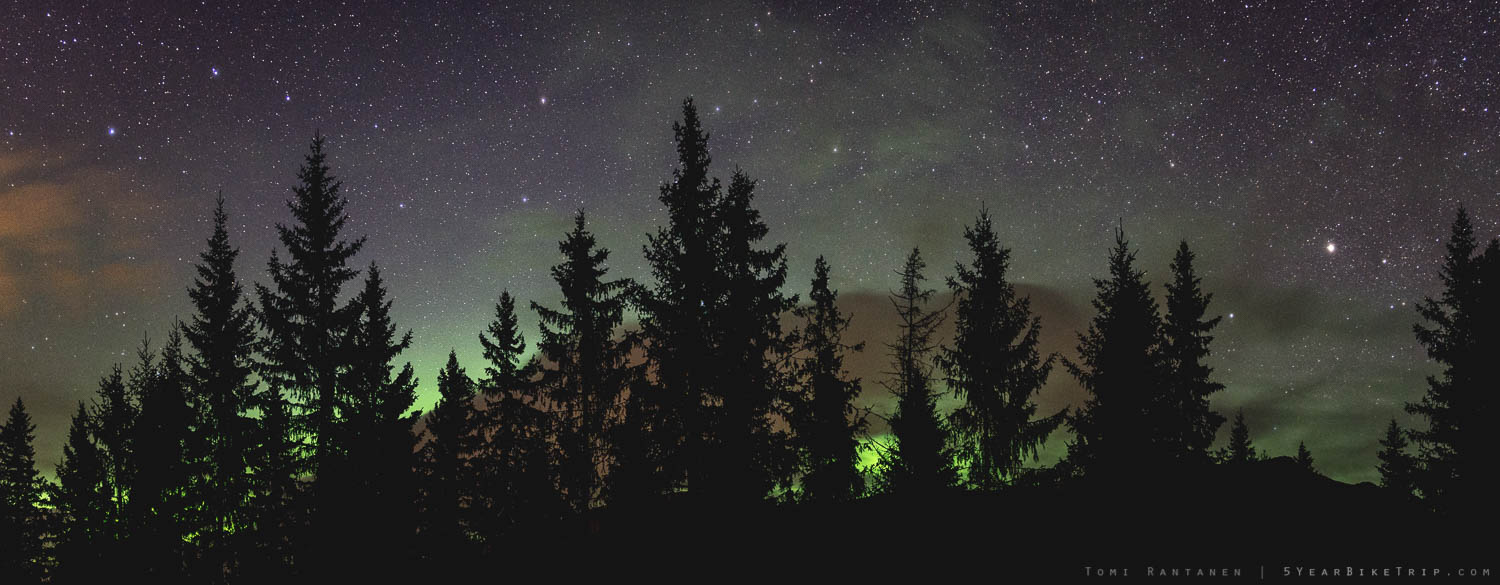 Where there was no light pollution, they were blocked by trees.