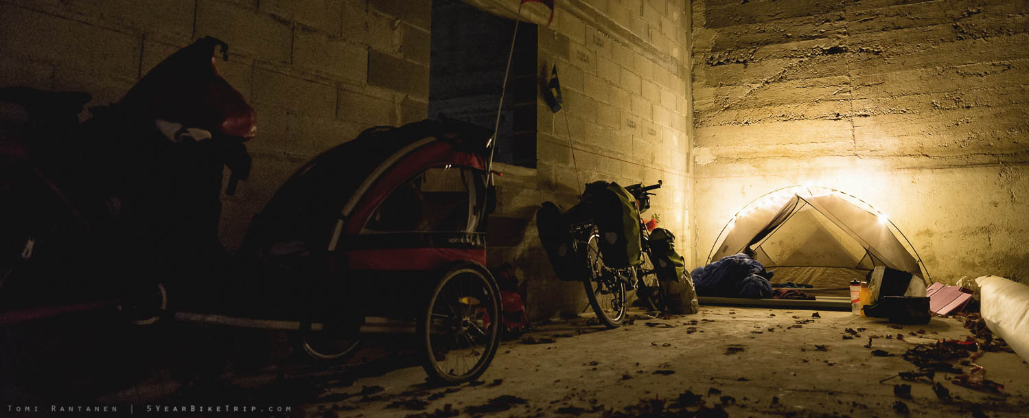 """Garage camping, or """"glamping"""" as I like to call it."""