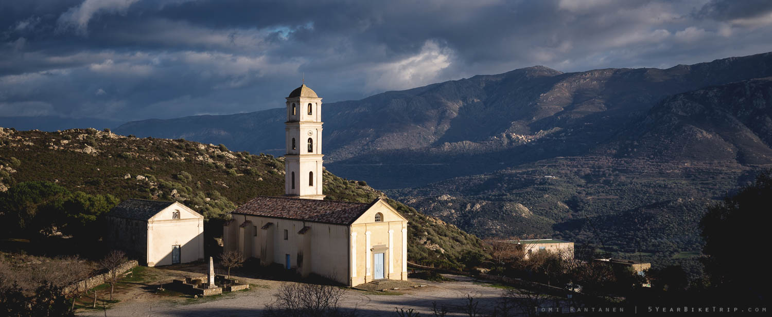View of the church and mountains from Sant'Antonino.