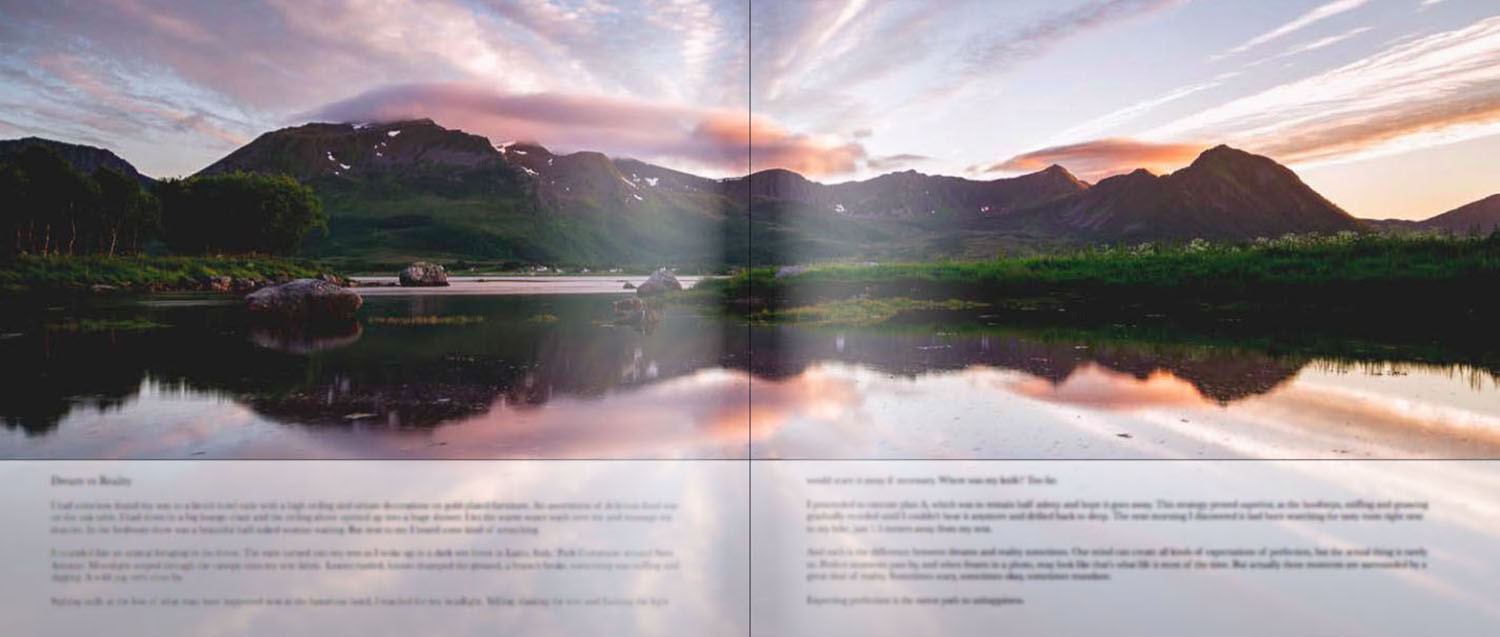 """""""Dream vs Reality"""", the first text I wrote for the book. It's blurred on purpose, though."""