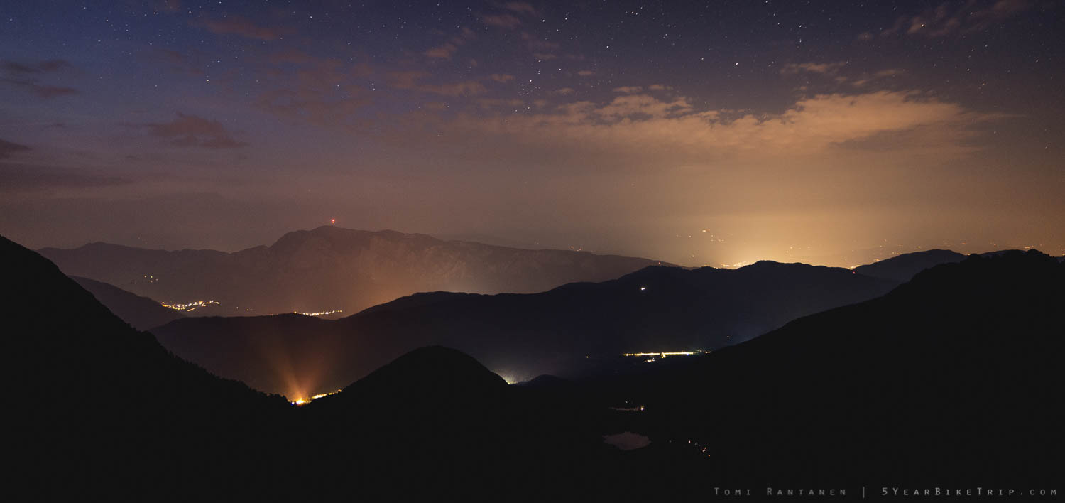 The view towards Lake Fusine and Austria from Mangart at night,