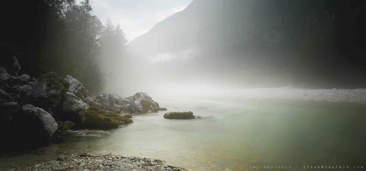 Foggy river Soca.