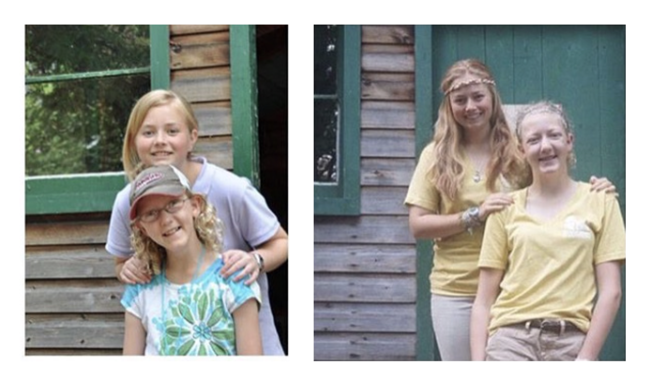 Katie (on the right) at camp, year 1 and year 10.