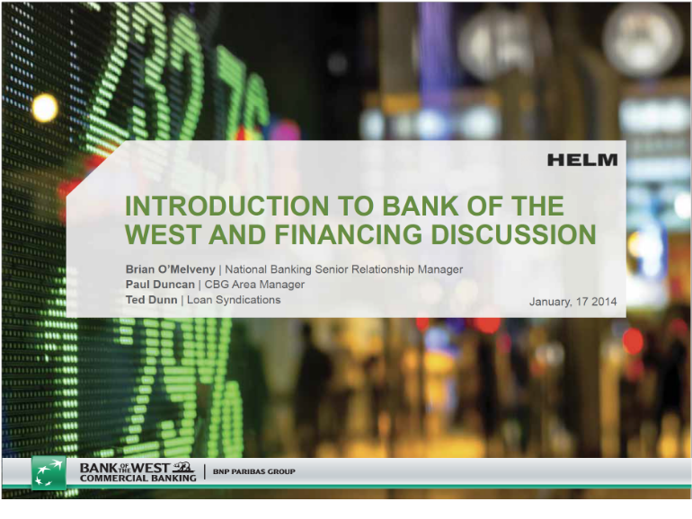 Bank of the West —Commercial Banking Group PowerPoint Presentation