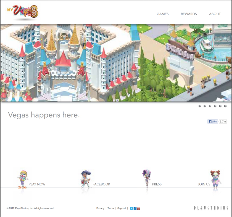 PlayStudios —website landing page for MyVegas, the first mobile game to offer real world rewards