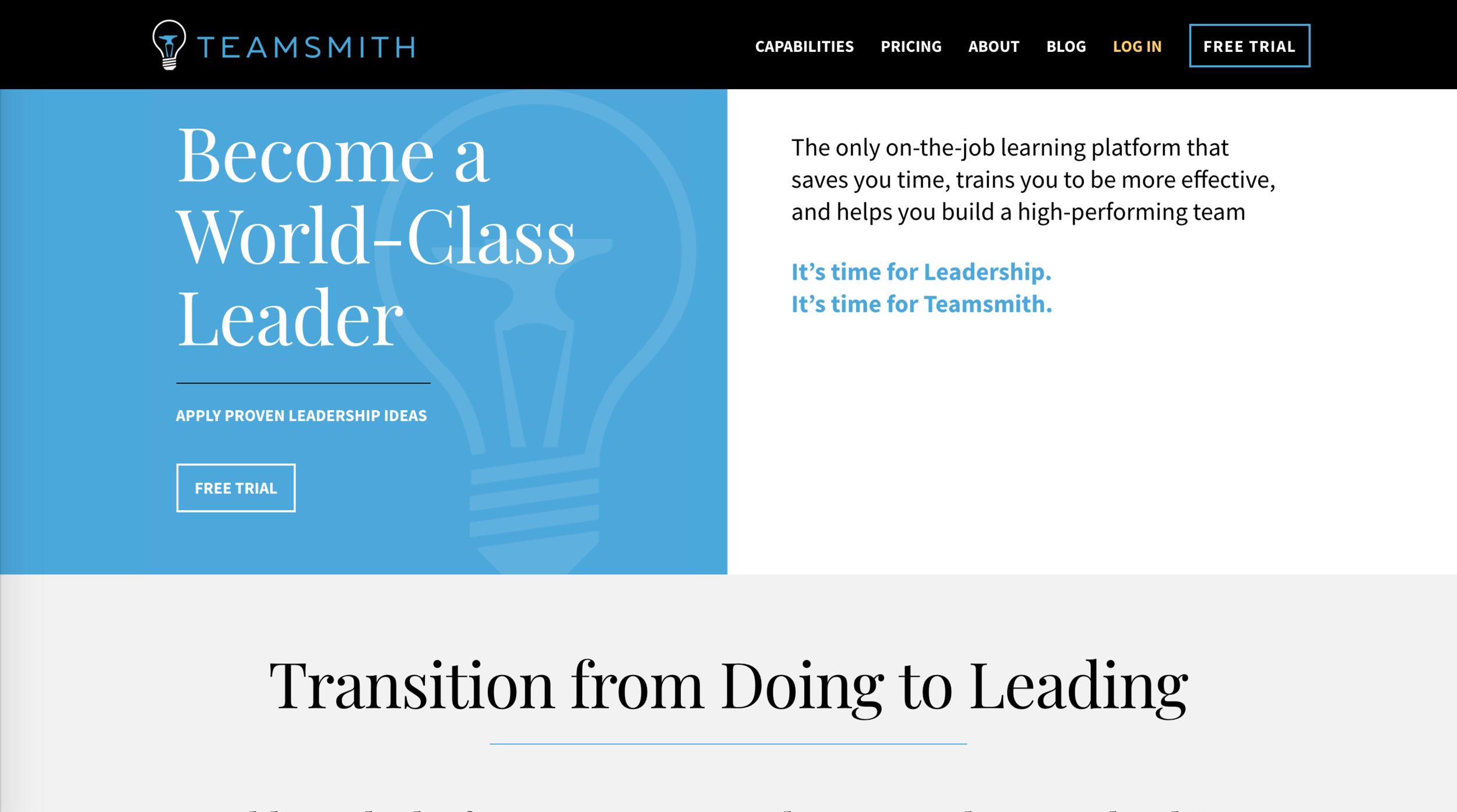 teamsmith.co Landing Page  Desktop View