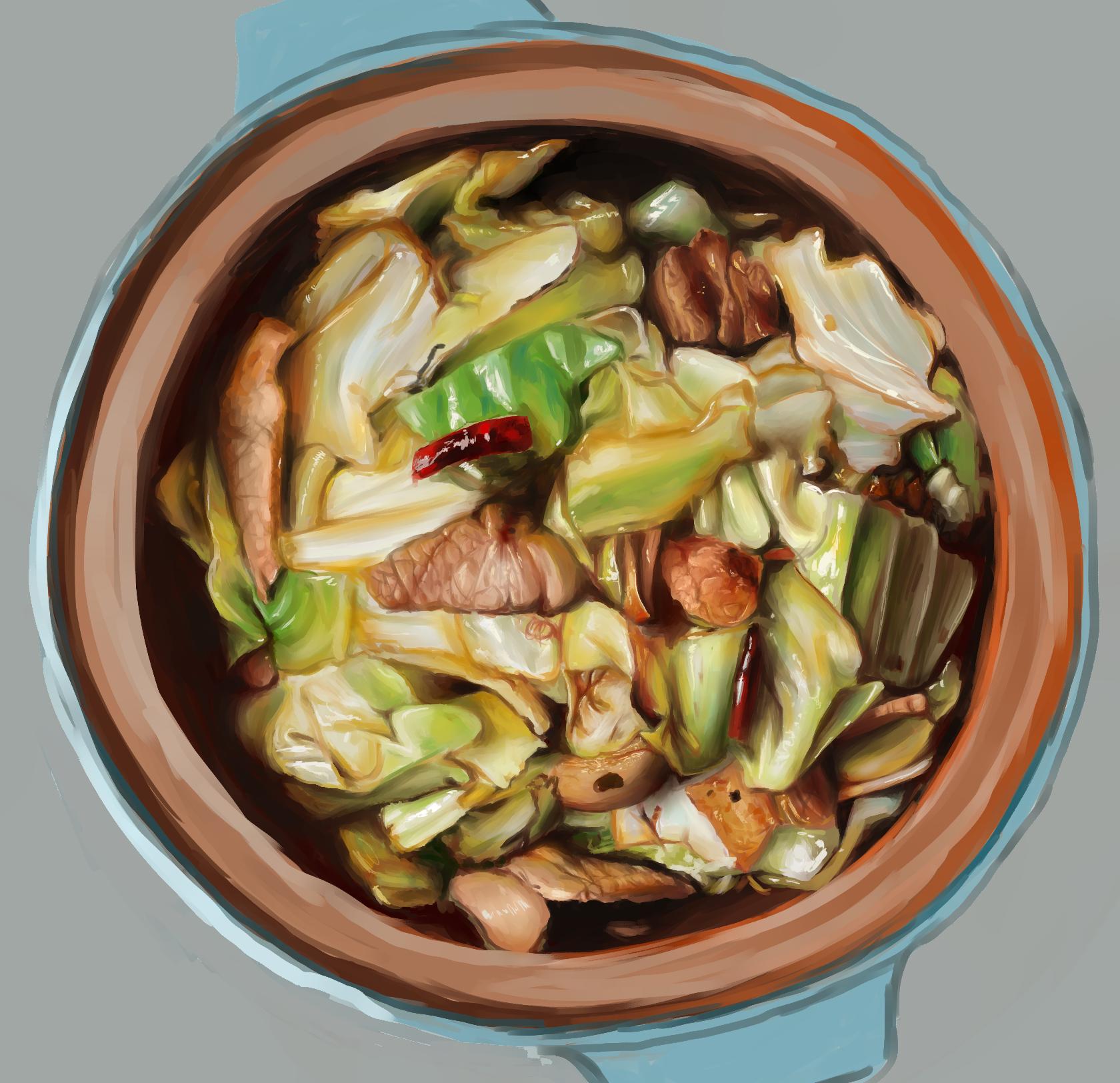 Stir-fried cabbage and pork
