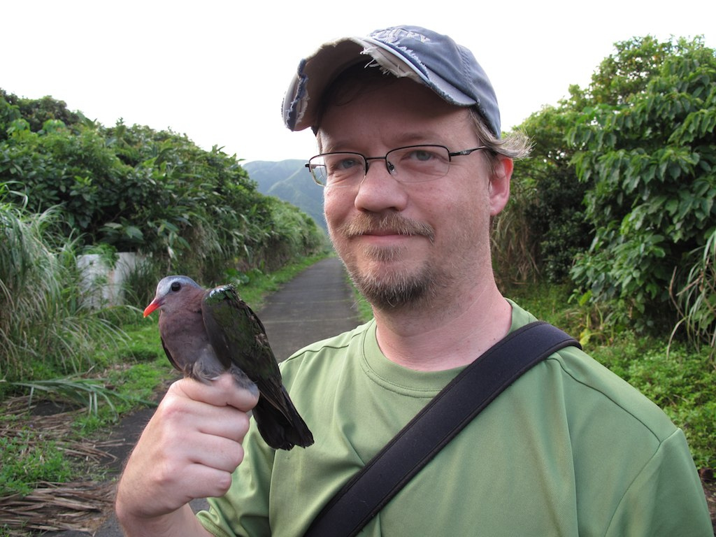 Me with Emerald Dove caught on Lanyu Island, Taiwan in May 2012